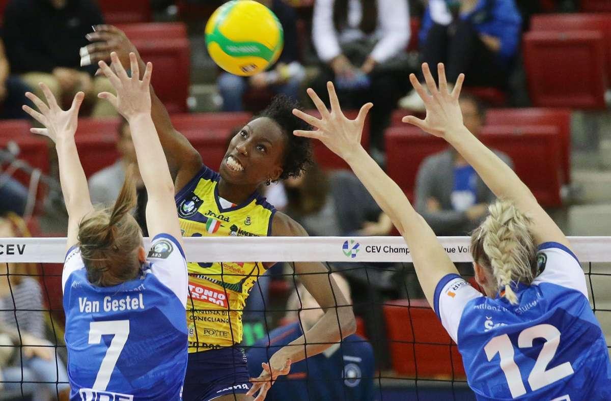 Paola Egonu, Superstar des italienischen Clubs Imoco Volley Conegliano: Noch ist nicht sicher, ob es auch nächste Saison Champions-League-Volleyball in Stuttgart zu sehen geben wird. Foto: Baumann
