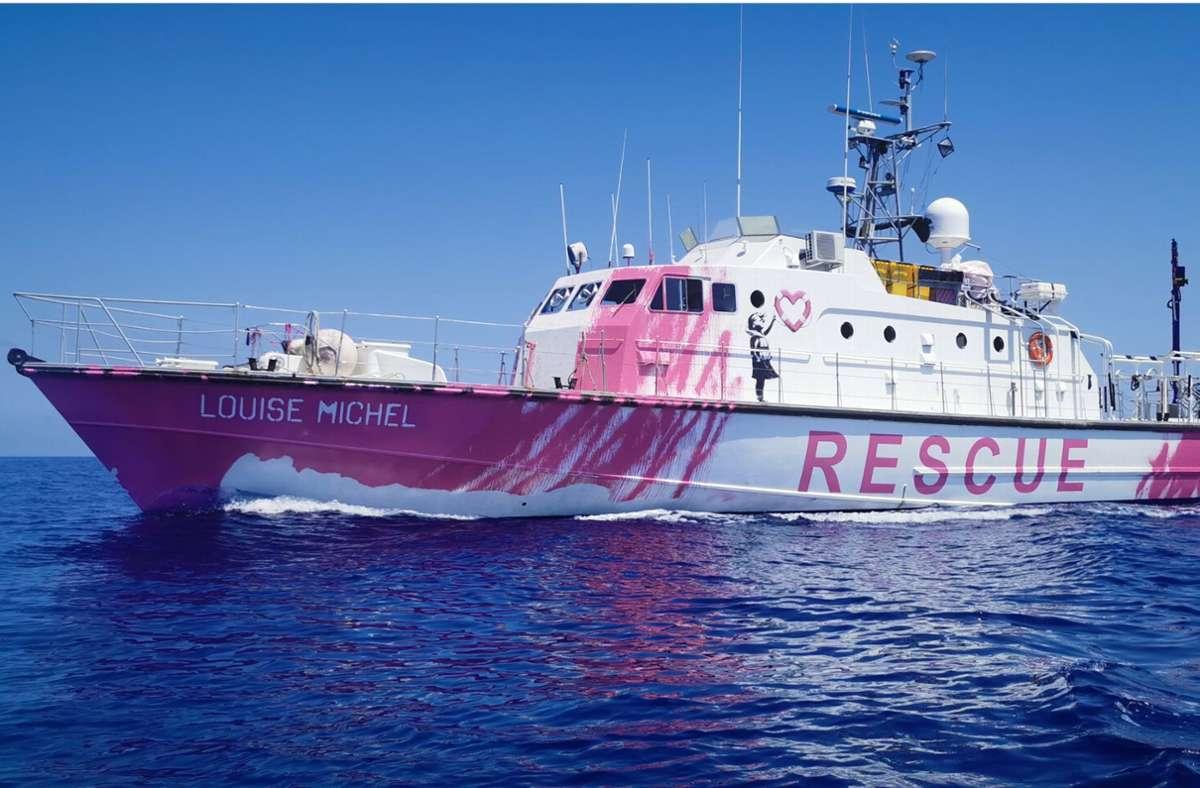 Banksy unterstützt ein Schiff zur Rettung von Flüchtlingen im Mittelmeer. Foto: dpa