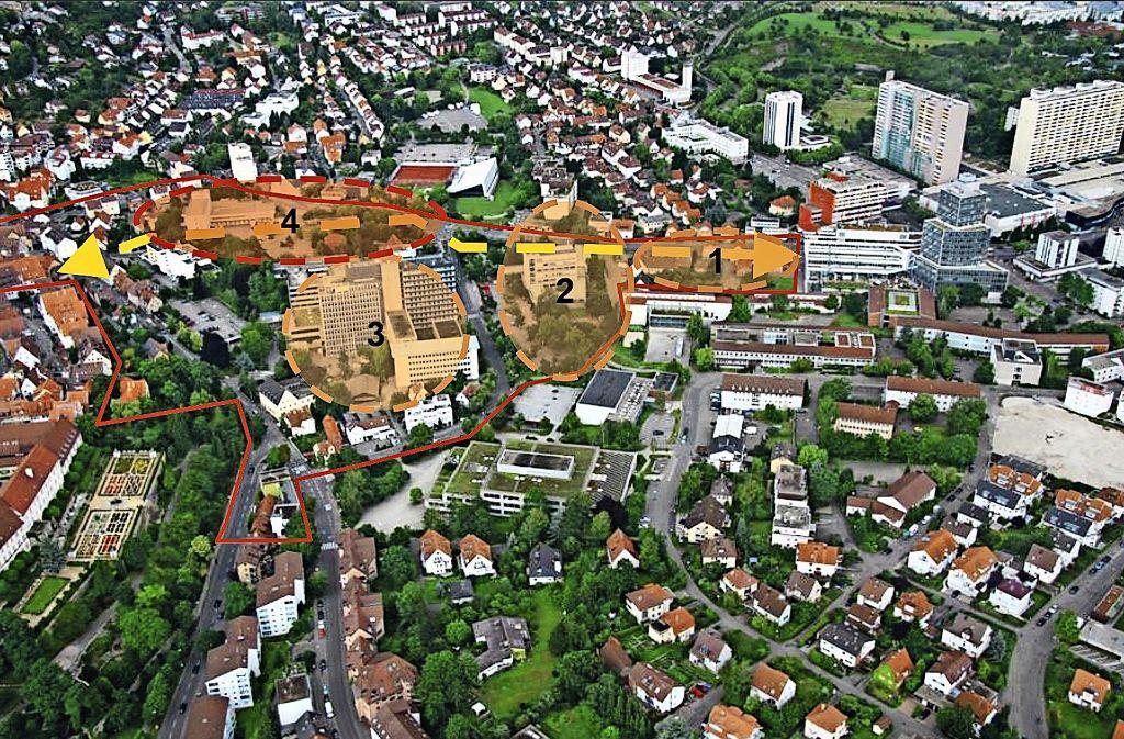 Vom Brezger-Areal (1), dem Rathaus (2), dem Layher-Gelände  (3) und der Post (4): Die ganze Innenstadt verändert sich. Das Foto stammt aus der Zeit, als noch das alte neue Rathaus    und die Leonberger Bausparkasse standen. Foto: Stadt Leonberg