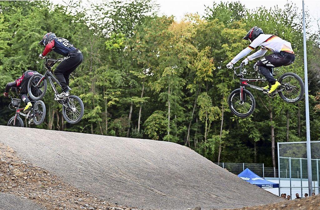 Die neue BMX-Supercross-Strecke erlaubt große Sprünge. Foto: BMX Union Stuttgart