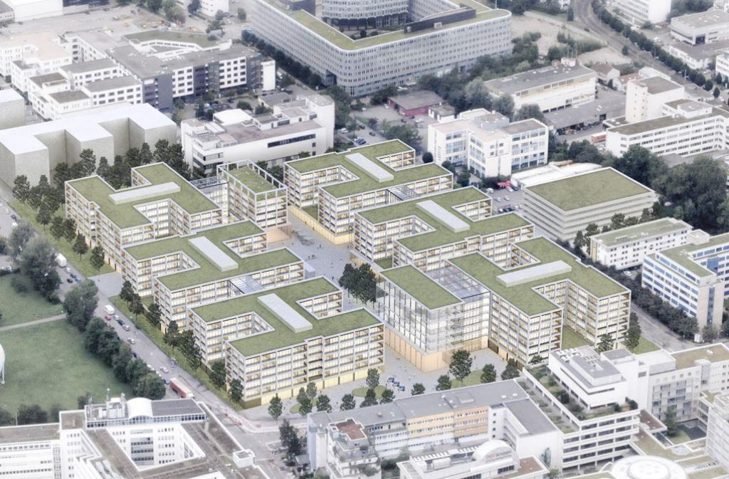 Der Bürokomplex zwischen Schockenried- und Industriestraße soll einladend gestaltet werden, die neue Mitte für die Öffentlichkeit zugänglich sein. Foto: O&O Baukunst / Rendering: Finest Images