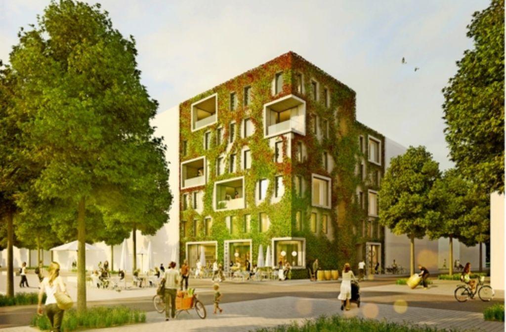 """Die """"Grüne Ecke"""" aus Infraleichtbeton des Heilbronner Architekten Franz Josef Mattes   gilt als zukunftsweisend –  doch noch fehlt die Zulassung. Foto: Mattes Riglewski Architekten"""