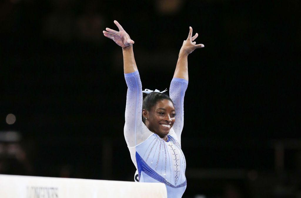 Simone Biles führte das US-Team zum Titel. Foto: Pressefoto Baumann/Alexander Keppler