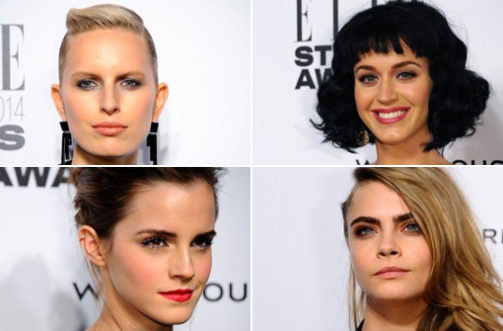 Stars bei den Elle-Style-Awards in London, von links oben im Uhrzeigersinn: Karolina Kurkova, Katy Perry, Cara Delevingne und Emma Watson. Foto: Getty Images | Montage: SIR