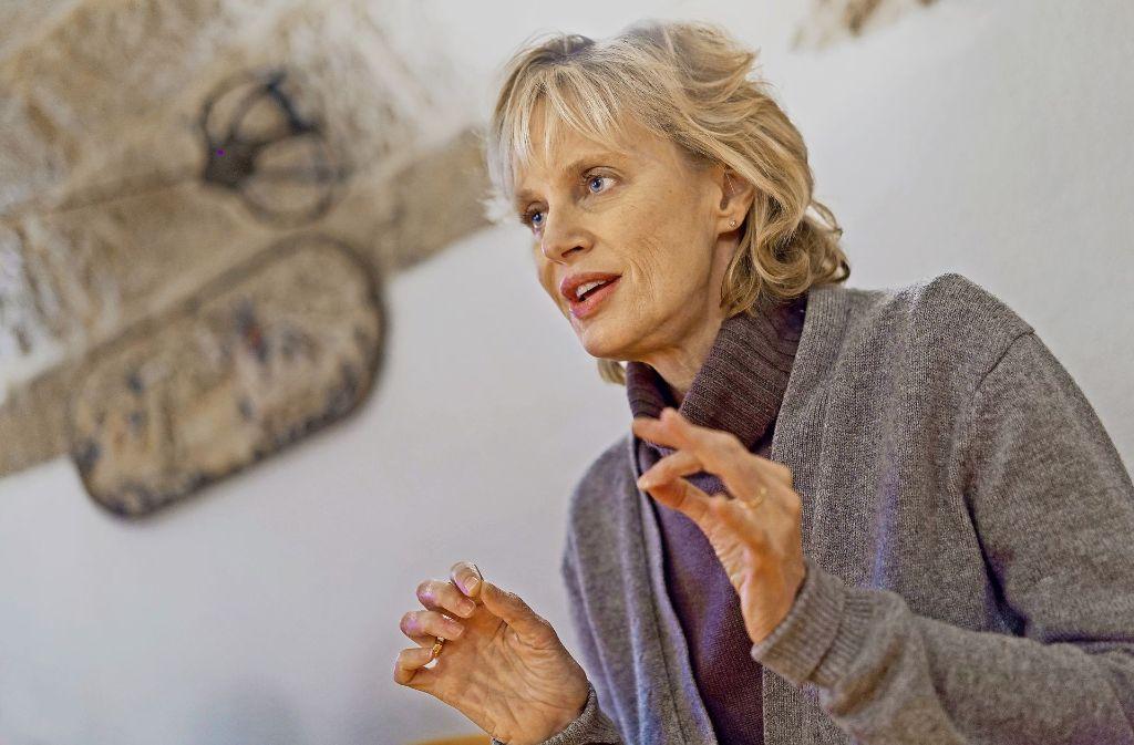 Siri Hustvedt bei ihrem Vortrag am Dienstag in Tübingen. Foto: Ulrich Metz