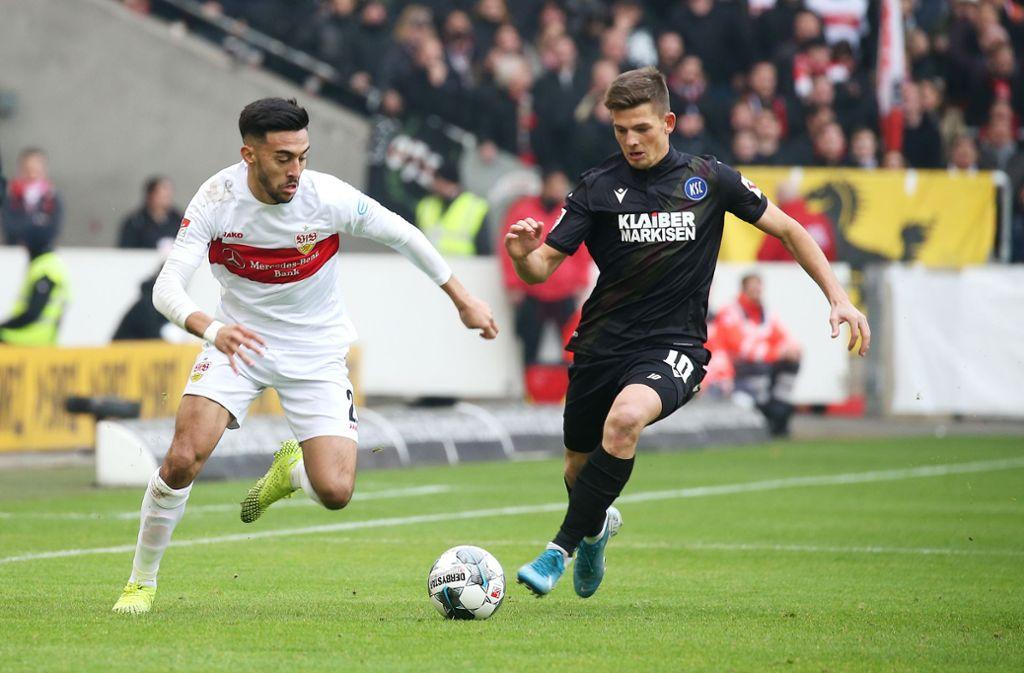 Marvin Wanitzek (rechts) rechnet sich mit dem Karlsruher SC gegen den VfB Stuttgart was aus. Marvin Wanitzek war von 2013 bis 2017 beim VfB. Foto: Baumann/Tim Carmele