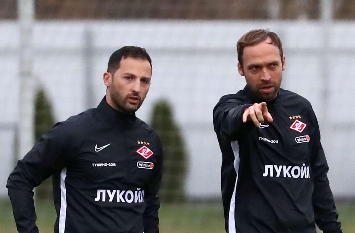 Domenico Tedesco (links) und Andreas Hinkel waren früher beim VfB Stuttgart aktiv. Foto: imago images/Anton Novoderezhkin