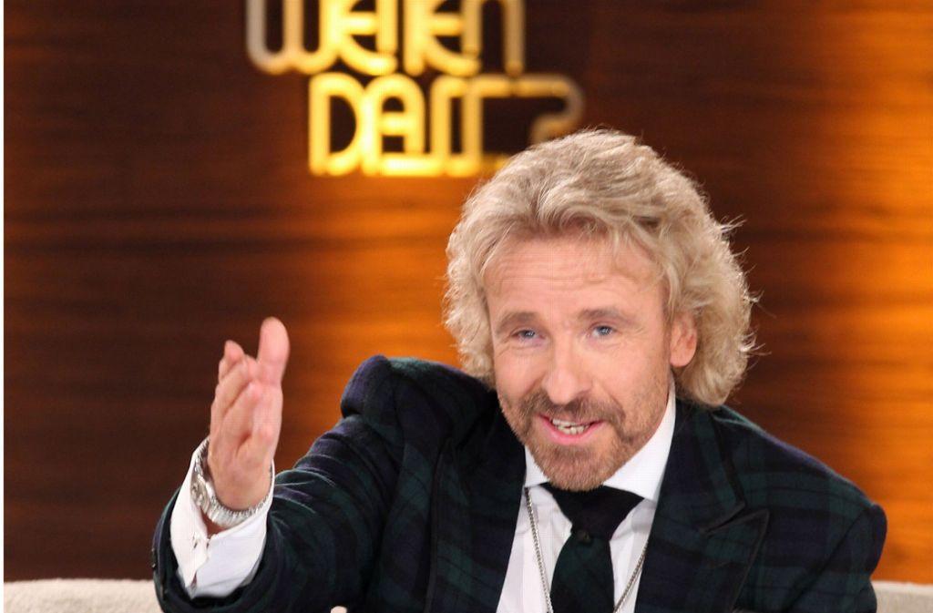 """Thomas Gottschalk moderierte """"Wetten, dass..?"""" mit einer Unterbrechung insgesamt mehr als 20 Jahre lang. Foto: dpa"""