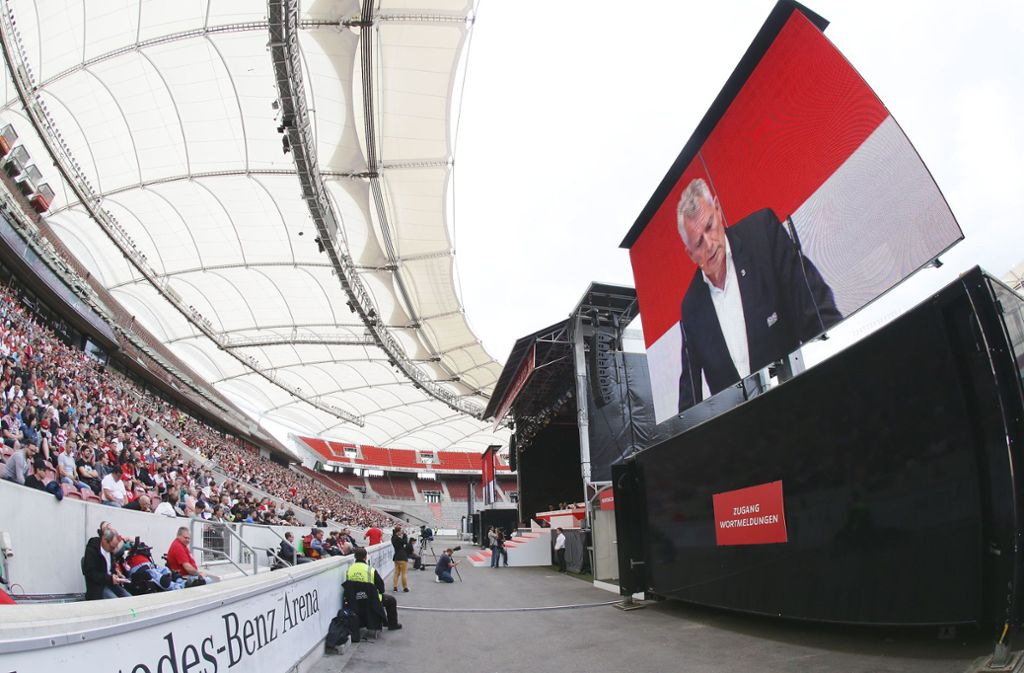In der Mercedes-Benz-Arena musste am Sonntag die Mitgliederversammlung des VfB Stuttgart abgebrochen werden. Foto: Baumann