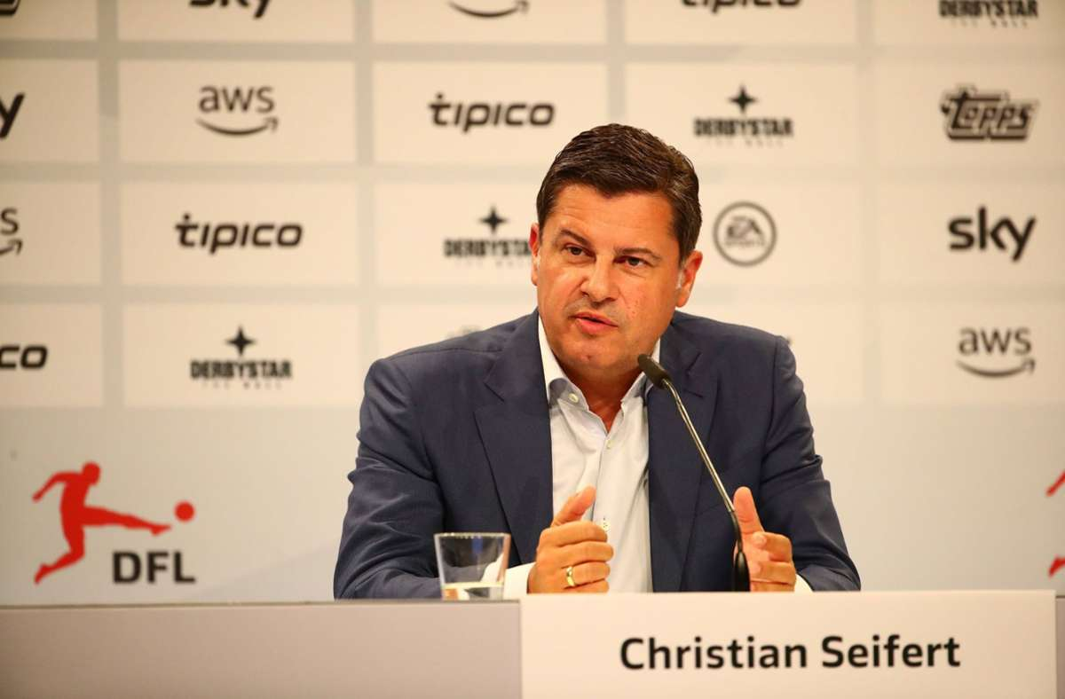 Christian Seifert bei einer Pressekonferenz der Deutschen Fußball Liga. Foto: imago images/Eibner/Weiss /Eibner-Pressefoto via www.imago-images.de