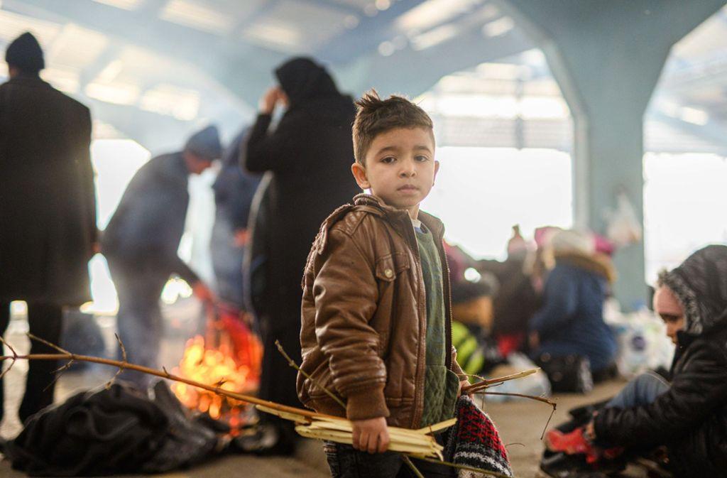Ein Junge sammelt Holz in einem Flüchtlingslager an der türkisch-griechischen Grenze. Foto: dpa/Mohssen Assanimoghaddam