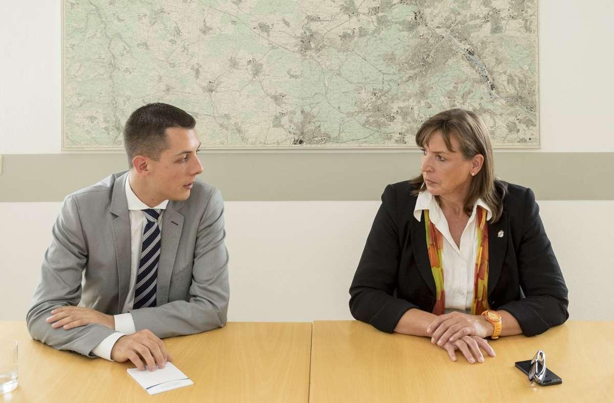 Im Wahlkampf 2014 standen sich Daniel Töpfer und Ursula Kreutel gegenüber. Foto: factum/Weise Foto: