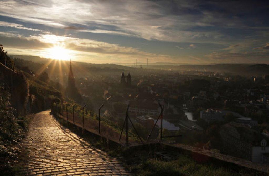 Blick aus den Weinbergen auf Esslingens Altstadt früh am Morgen. Foto: Leserfotograf bdslucky48