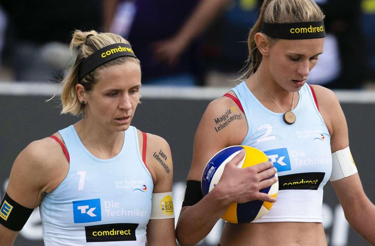 Ihr Ziel ist eine olympische Medaille in Tokio: Laura Ludwig (li.) und Margareta Kozuch. Foto: dpa/Frank Molter