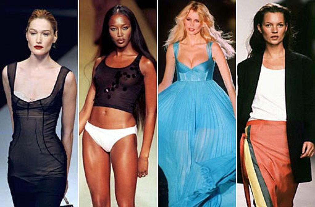 Supermodels mit Gigagagen: Carla Bruni, Naomi Campbell, Claudia Schiffer und Kate Moss (links) setzten im Modebusiness Maßstäbe. Bis heute sind sie jedem ein Begriff und dick im Geschäft - wie unsere Bildergalerie beweist. Foto: dpa, Bearbeitung: SIR