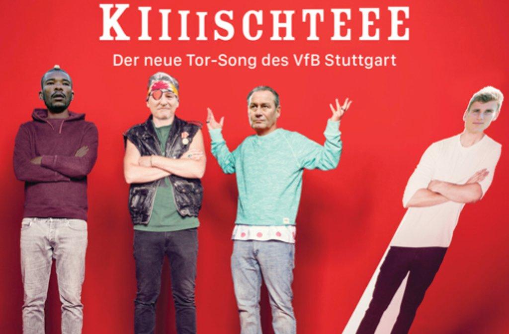 Geoffroy Serey Dié, Bernd Wahler, Huub Stevens und Timo Werner als Die Orsons. Foto: www.vertikalpass.de