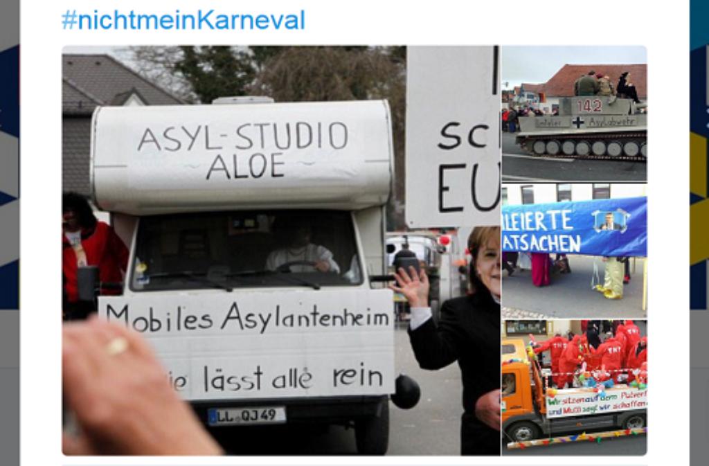 Anspielungen auf die Flüchtlingsdebatte bei Faschingsumzügen sorgen im Netz für Ärger. Foto: Screenshot/Twitter