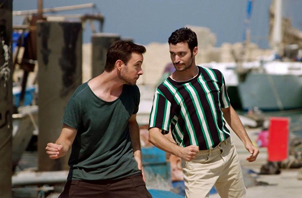 Eric Gauthier bei Dreharbeiten mit Nadav Zelner im Hafen von Tel Aviv Foto: SWR/Andreas Schäfauer