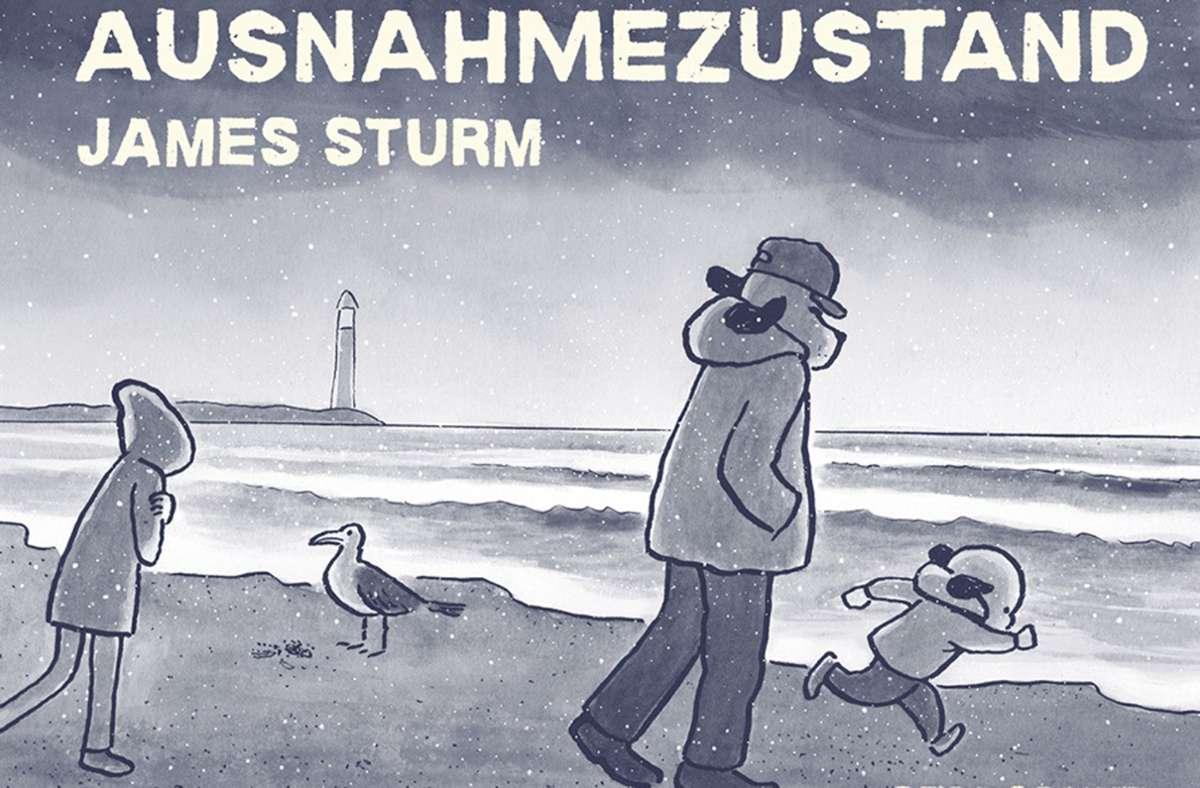 """Der Wind bläst ihm entgegen: Mark mit seinen Kindern auf dem Cover des Comics """"Ausnahmezustand"""". Foto: Reprodukt Verlag/James Sturm"""