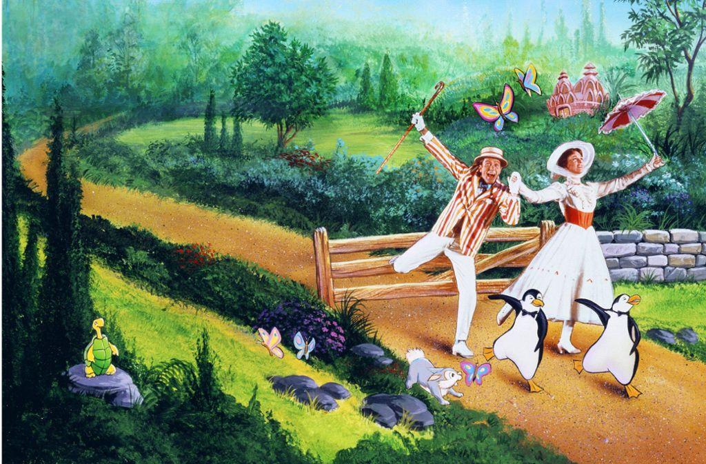 Sie ist einfach die beste Nanny ever: Julie Andrews als Mary Poppins – mit Dick Van Dyke als Bert. Weitere Einschaltempfehlungen finden Sie in unserer Bildergalerie Foto: imago/Mary Evans