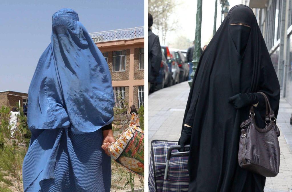 Formen der Vollverschleierung: Burka (links) und Niqab. Beide Formen will die Union aus Ämtern und Schulen gesetzlich verbannen. Foto: EPA