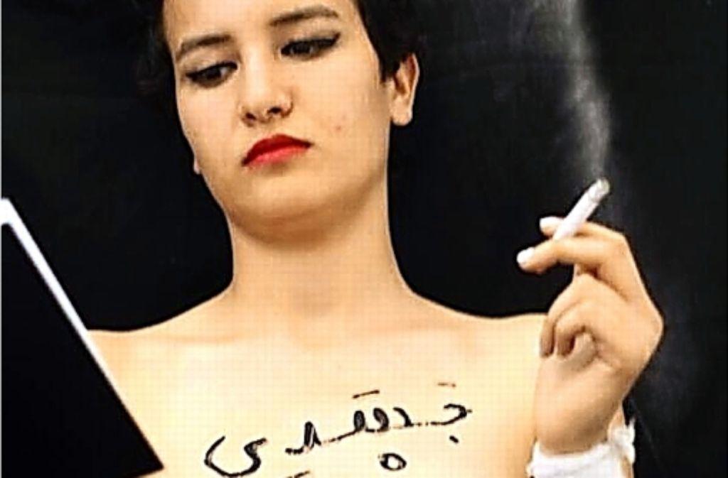 """""""Mein Körper gehört mir"""", hat  Amina Tyler auf ihre Brust geschrieben. Foto: Facebook"""