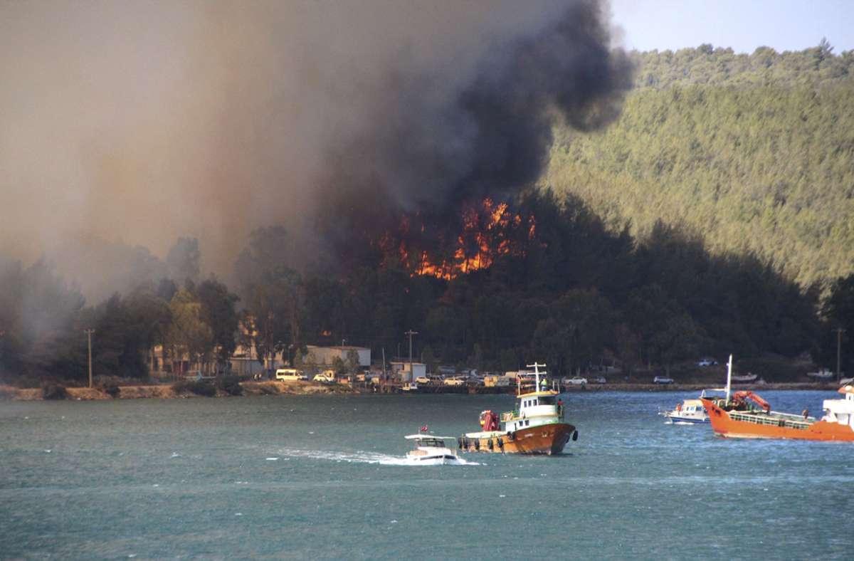 Rauch und Flammen stiegen aus einem Waldgebiet auf. Foto: dpa/Uncredited