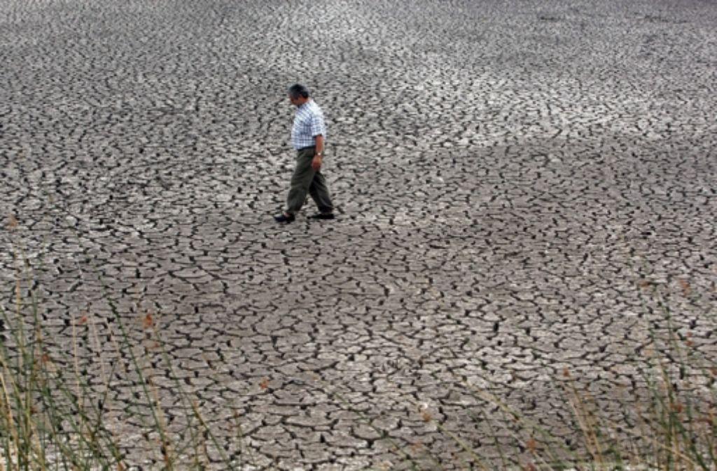 Ein argentinischer Bauer durchquert ein ausgetrocknetes Flussbett. Foto: dpa
