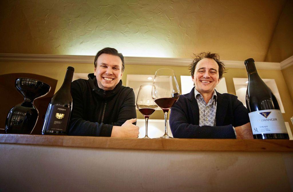 Jens Zimmerle (links) und Sven Ellwanger siegen beim Rotweinpreis. Foto: /Gottfried Stoppel