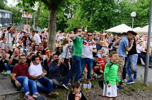Partystimmung beim Public Viewing im Schlossgarten