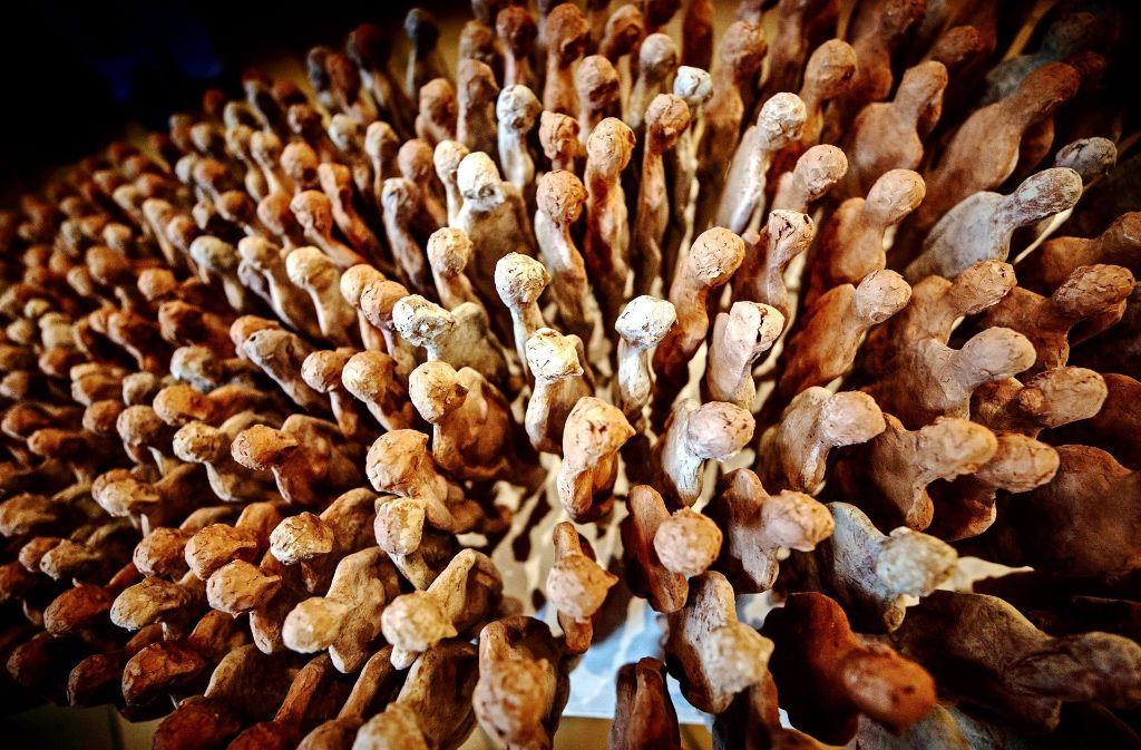 Dicht gedrängt stehen die 330 Tonfiguren, die an die   in Grafeneck getöteten Diakonie-Bewohner erinnern Foto: Gottfried Stoppel