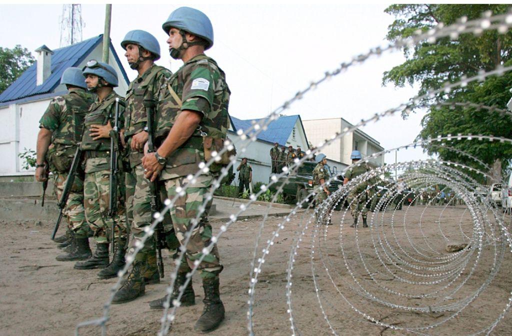 UN-Blauhelmsoldaten sind in den Krisengebieten der Welt, wie hier im Kongo, im Einsatz. Foto: dpa