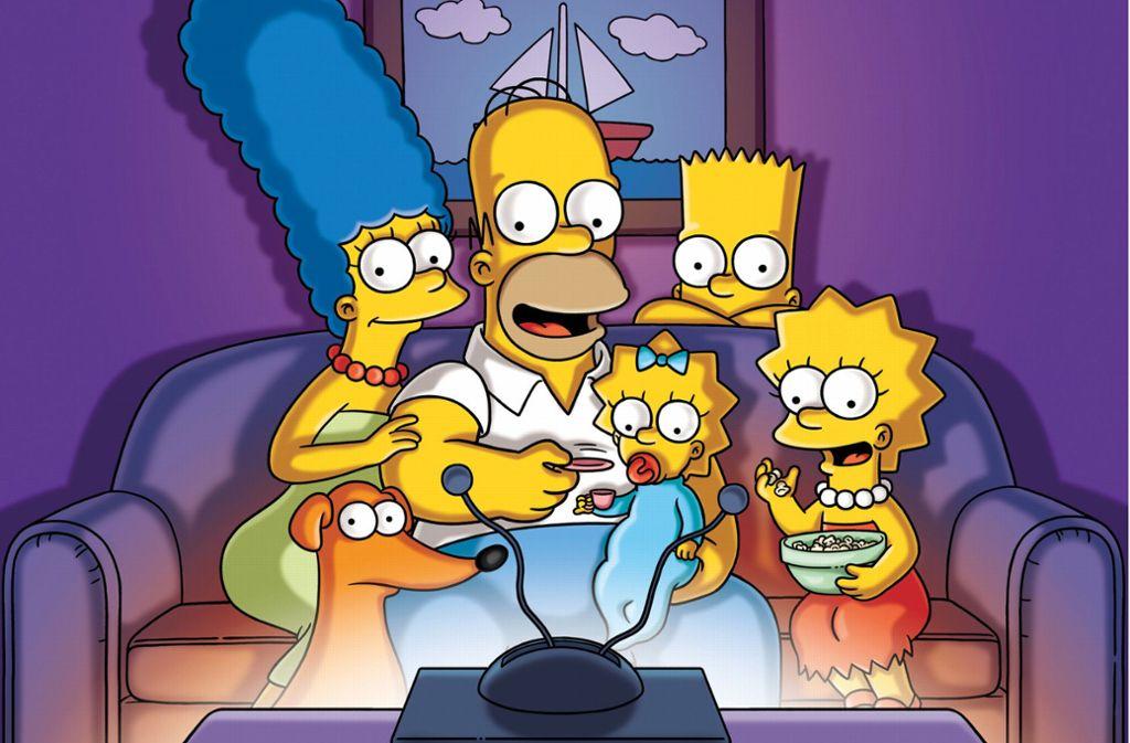 Die Familie Simpson:  Marge,  Homer, Maggie,  Bart und  Lisa (von links), vorne der  Hund Knecht Ruprecht Foto: dpa