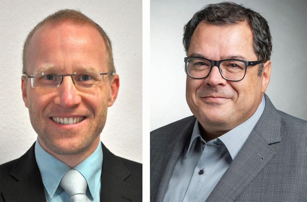 Jens Theobaldt (links) und Rainer Moritz gelten als Favoriten für die Bürgermeisterwahl. Foto: privat
