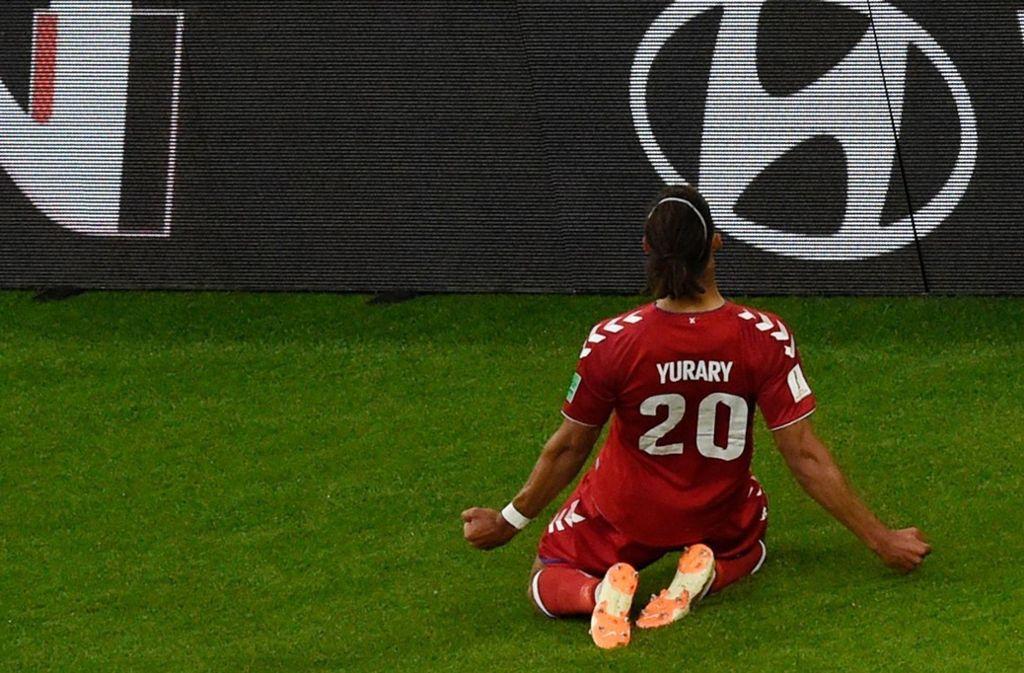 """""""Yurary"""" stand auf dem Trikot von Yussuf Poulsen beim Spiel gegen Peru. Foto: AFP"""