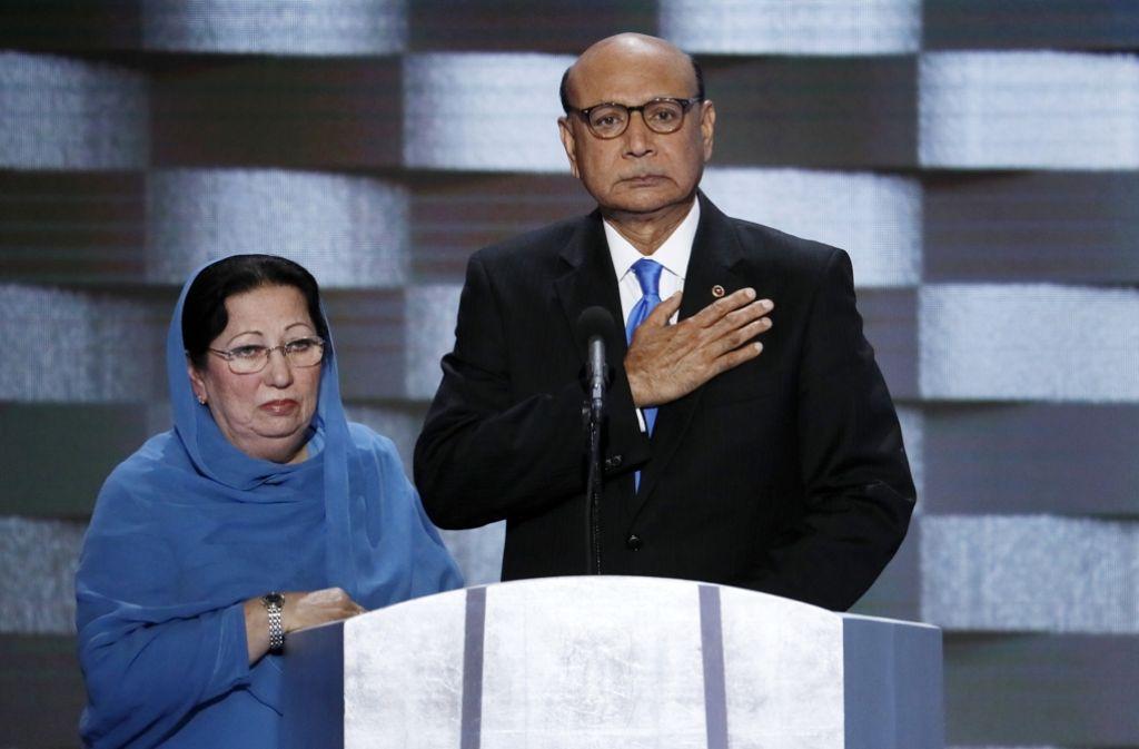 Die Eltern des gefallenen Soldaten hatten sich auf dem Nominierungsparteitag der Demokraten gegen den republikanischen Präsidentschaftskandidaten Trump ausgesprochen Foto: AP