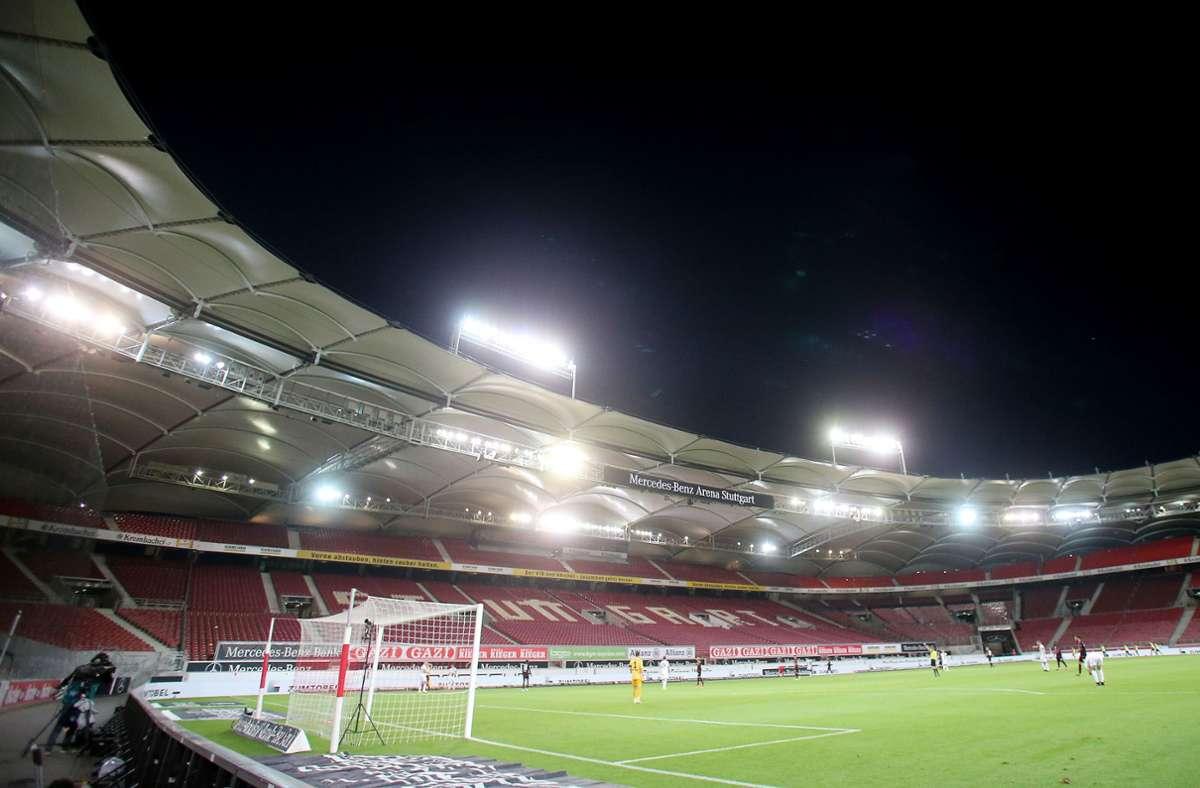 Die  Tribünen der Mercedes-Benz-Arena bleiben zum Saisonstart vermutlich leer. Foto: Baumann