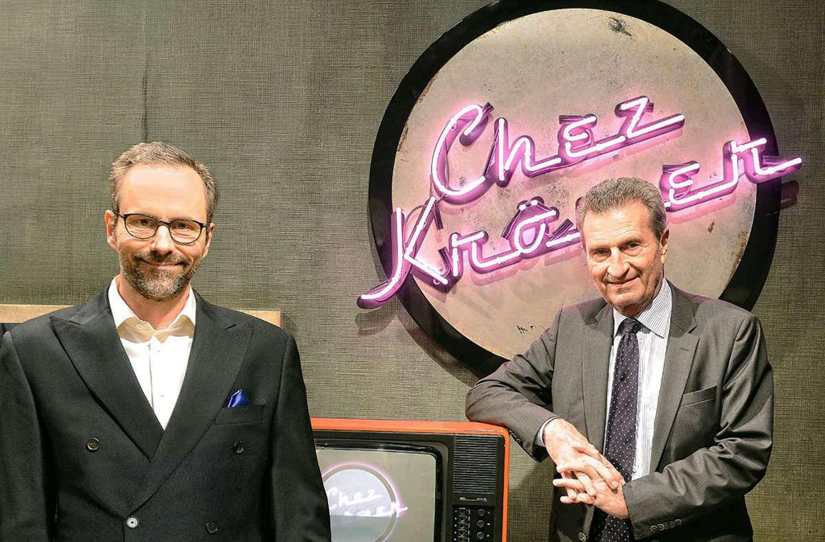 Günther Oettinger (rechts) war in der Talkshow von Moderator Kurt Krömer zu Gast. Foto: rbb/Daniel Porsdorf