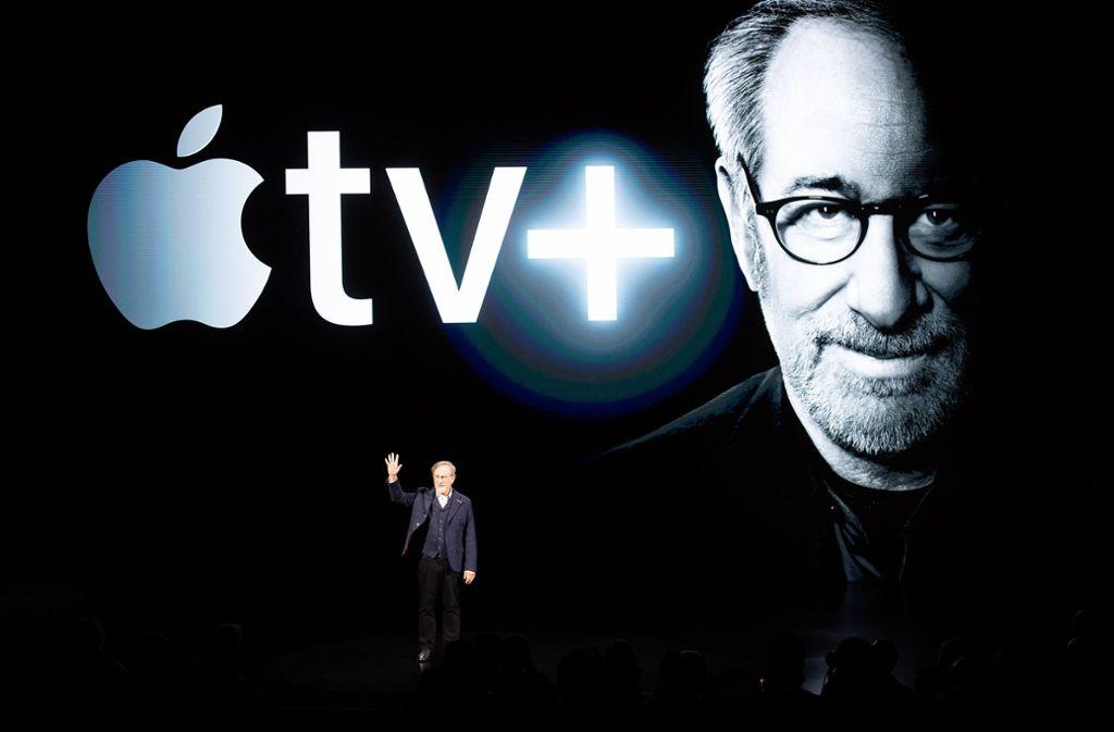 Steven Spielberg bei der ersten Präsentation von Apple TV+ im März 2019 Foto: AFP