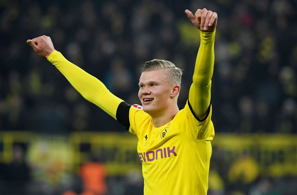 Auch dank Joker-König Erling Haaland hat Borussia Dortmund die für die Rückrunde angekündigte Aufholjagd Richtung Meisterschaft erfolgreich fortgesetzt. Foto: AFP/INA FASSBENDER