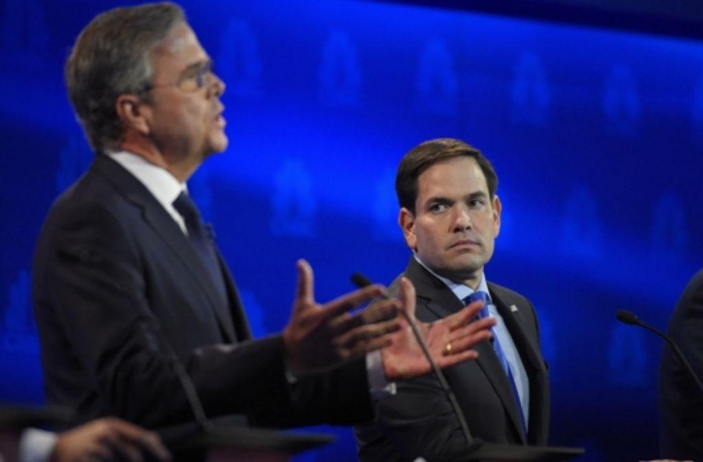 Die Chancen von Marco Rubio, rechts, steigen im US-Wahlkampf. Foto: AP