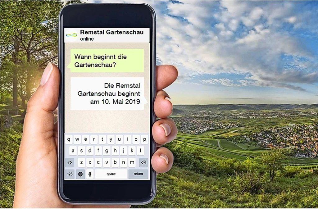 Einfach eine Frage an eine zentrale Nummer schicken und das Smartphone hilft in allen Gartenschau-Lebenslagen, versprechen die Organisatoren. Foto: Unified Inbox