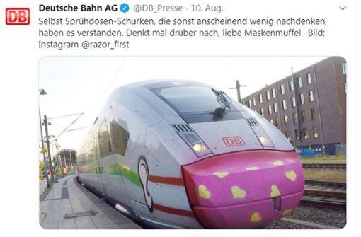 Corona-Maske auf Lokomotive gesprüht – so schlagfertig reagiert die Bahn