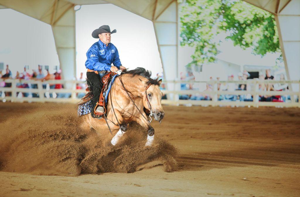 Eingespieltes Duo: Robin Schoeller auf seinem Pferd Wimpy Kaweah. Foto: