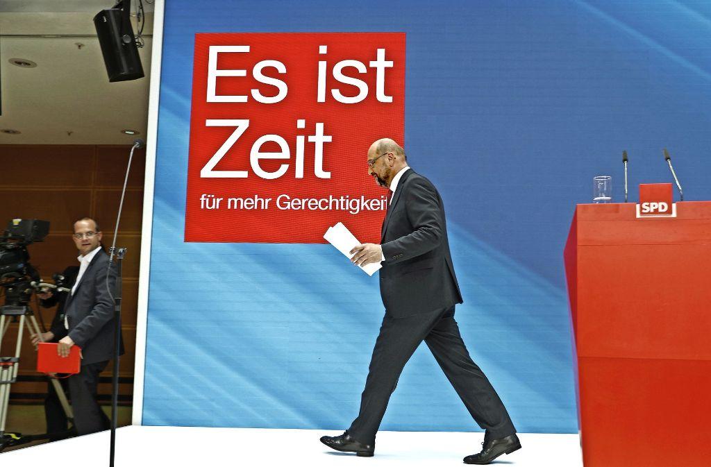 Es ist Zeit für mehr Gerechtigkeit – und für Gespräche mit der Union. SPD-Chef Schulz nach seiner Kehrtwende im Willy-Brandt-Haus. Foto: dpa