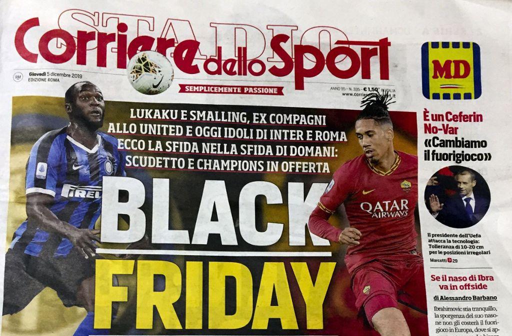 Zur Vorberichterstattung der Partie zwischen Inter Mailand und AS Rom titelte die Corriere dello Sport diese Überschrift, die in Italien kontrovers diskutiert wird. Foto: AP/Fabio Polimeni