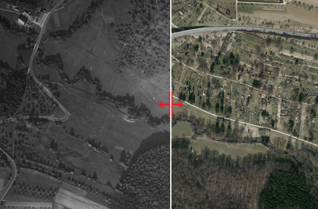 Die Autobahn 8 führte in den 50er-Jahren  überwiegend an   Feldern und Streuobstwiesen vorbei. Mittlerweile steht das Land unter großem Siedlungsdruck. Foto: Stadtmessungsamt
