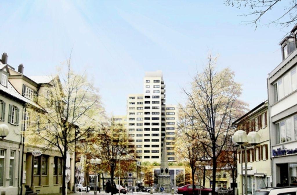 Architekten aus Frankfurt haben ein Konzept für die Umgestaltung der überdimensionierten  Marstall-Wohntürme  in Ludwigsburg entwickelt Illustration: Stadt