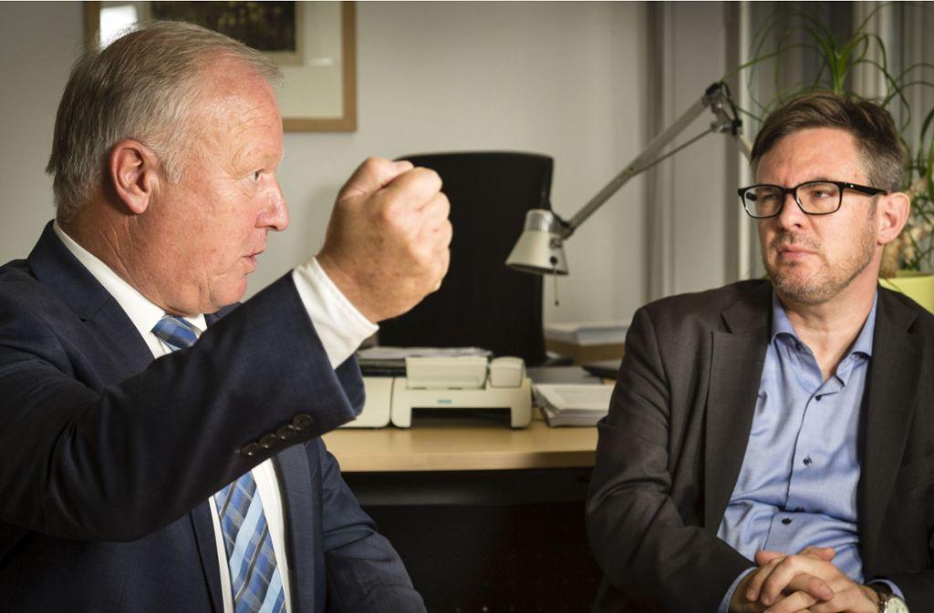 Grundverschiedene Meinungen zur Grundrente – die Sozialpolitiker Peter Weiß (CDU) und Martin Rosemann (SPD) bekunden im Gespräch mit unserer Zeitung trotzdem den Willen zur Einigung. Foto: Christian Schroth