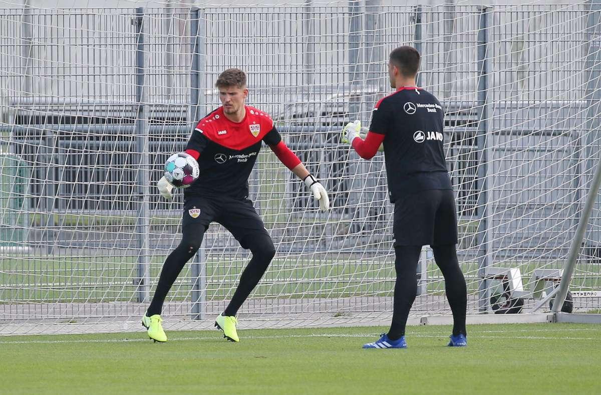 Und auch Keeper Gregor Kobel wurde beim Training gefordert. Foto: Pressefoto Baumann